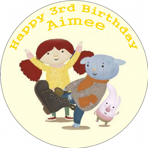 ABNEY AND TEAL BIRTHDAY PARTY EDIBLE ROUND BIRTHDAY CAKE TOPPER DECORATION